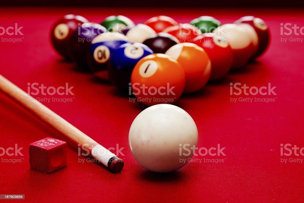 Billards pool game. Cue ball, color balls in triangle, chalk stock photo
