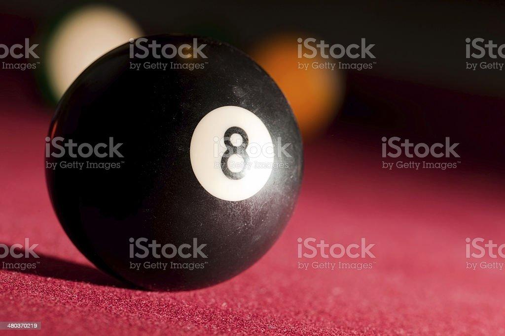 Billards pool or snooker game. The black eight ball. stock photo