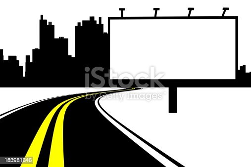 istock Billboard and road with city background 183981646