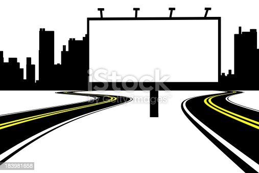 istock Billboard and road with city background 183981658