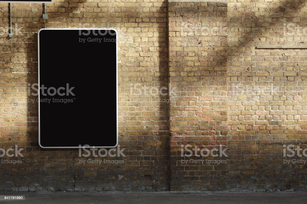 billboard at the train station stock photo
