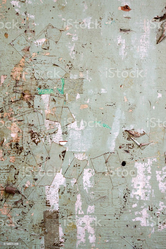 billboard Background with Old Torn Posters stock photo