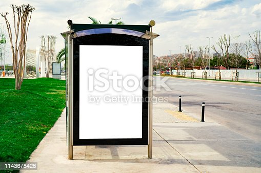 841502736 istock photo Billboard, banner, empty, white at a bus stop 1143678428