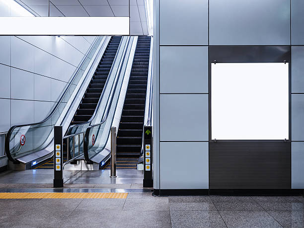 billboard banner mock up media display with escalator in subway - square shape stock pictures, royalty-free photos & images