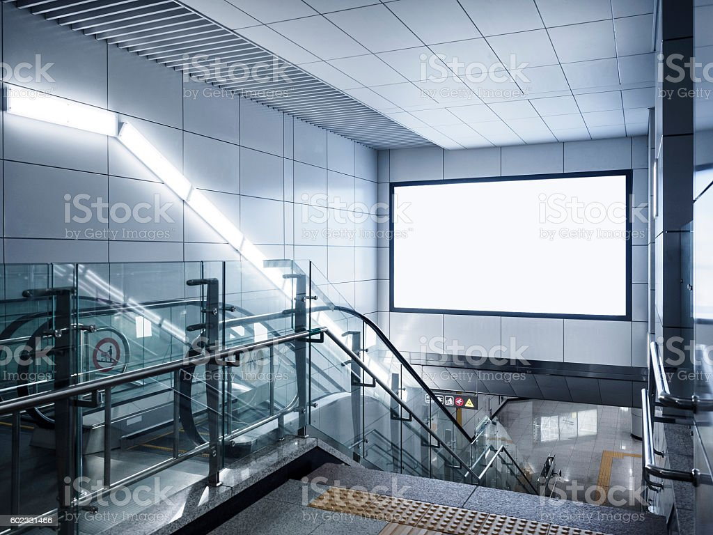 Billboard Banner signage mock up display in subway with escalator stock photo