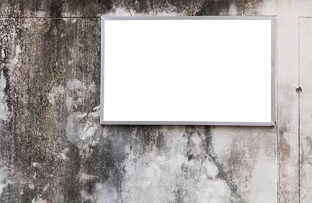billboard blank on dirty wall. - sprüche kalender stock-fotos und bilder