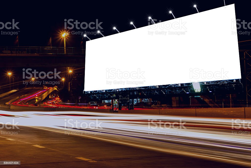 billboard blank outdoor at night. stock photo