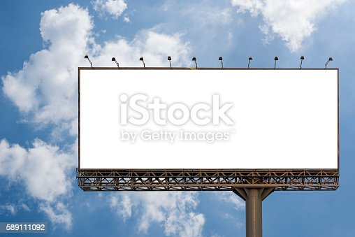 istock Billboard blank with blue sky for outdoor advertising poster 589111092