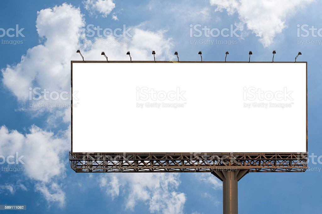 Billboard blank with blue sky for outdoor advertising poster stock photo