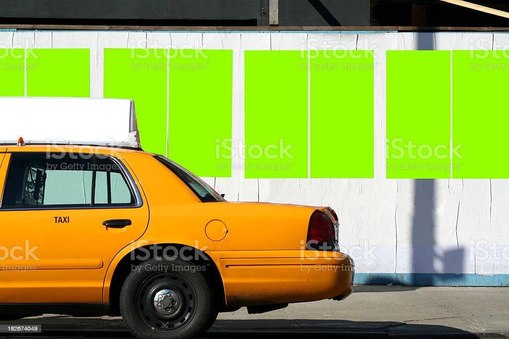 NYC Billboard Covered Sidewalk stock photo