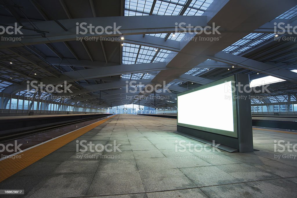 billboard for advertisement in railway station stock photo