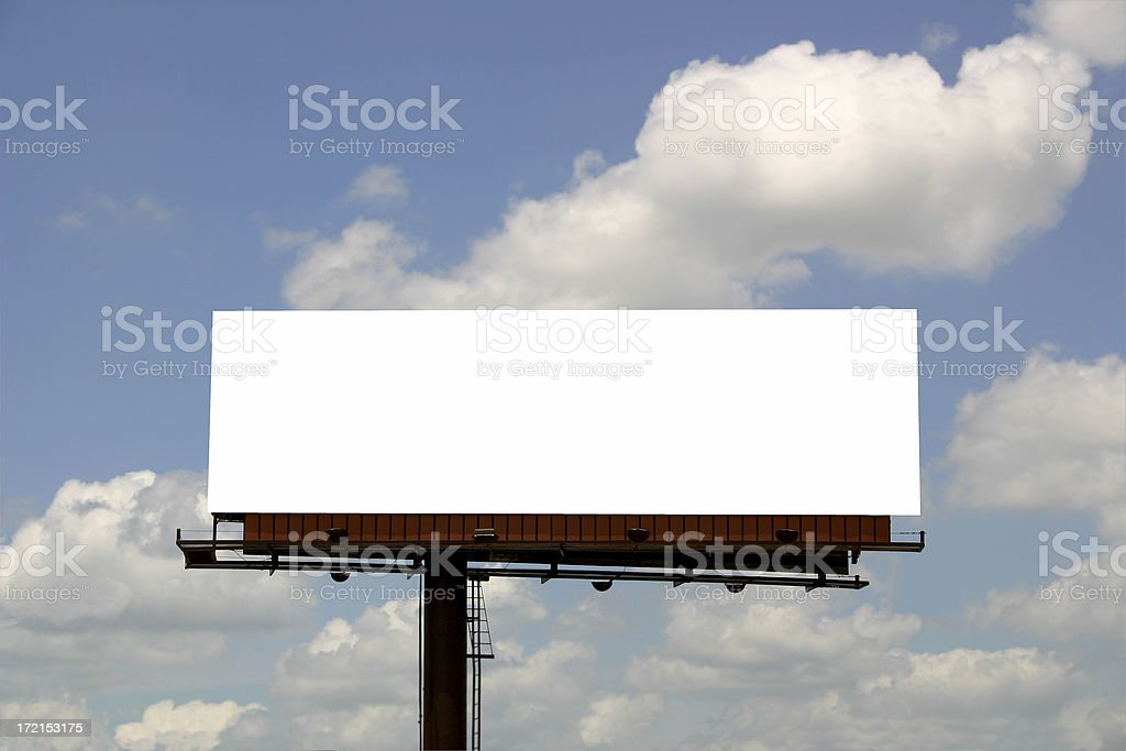 Billboard in front of Clouds stock photo