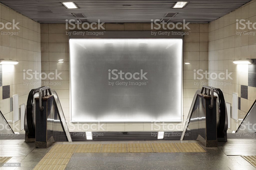 billboard in subway with clipping path stock photo