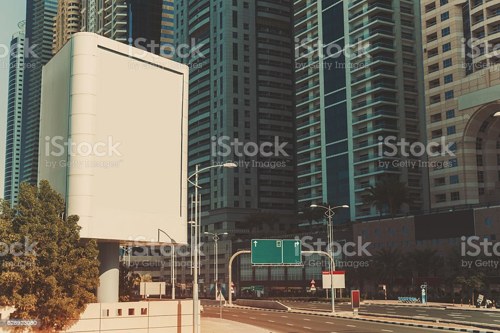 Billboard mock up and skyscrapers in Dubai stock photo