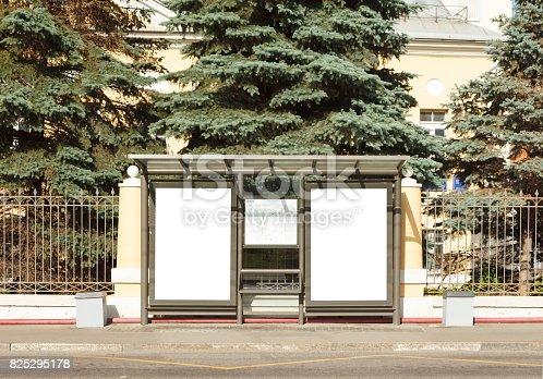 istock Billboard mockup in bus stop 825295178