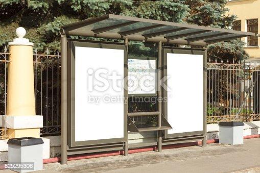istock Billboard mockup in bus stop 825295306