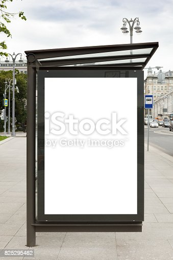 istock Billboard mockup in bus stop 825295462
