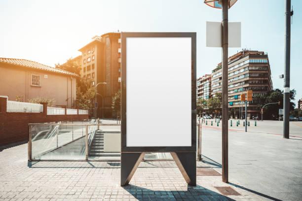 Billboard mock-up in urban settings stock photo