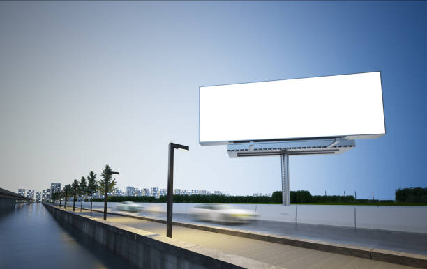 billboard mockup on highway billboard on highway 3d rendering mockup billboard stock pictures, royalty-free photos & images