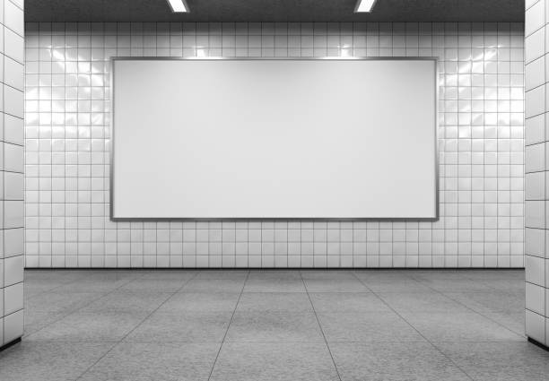 Billboard mockup. Blank horizontal billboard on the metro station. 3D rendering. underground stock pictures, royalty-free photos & images