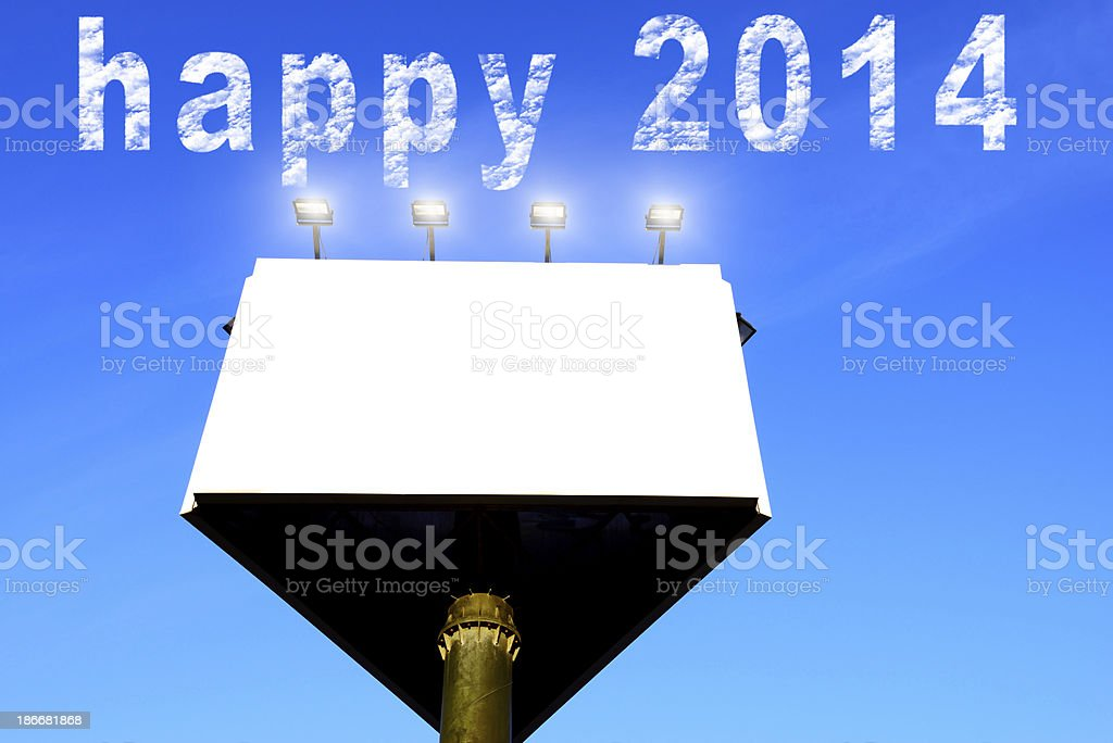 Billboard New Year 2014.Copy Space. royalty-free stock photo