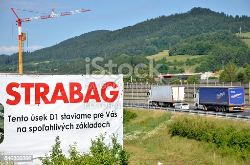 istock Billboard of Strabag building company on construction site of highway 546806396