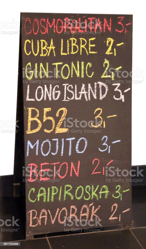 billboard of the pub menu with lots of drinks and the price stock photo
