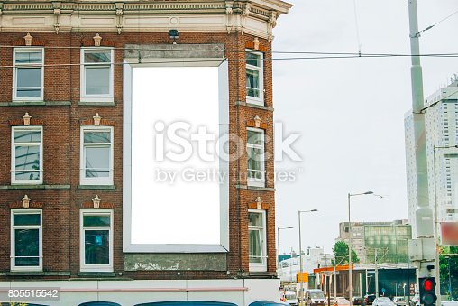 158172107 istock photo Billboard on building facade 805515542