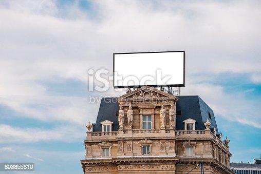 158172107 istock photo Billboard on top of building 803855610