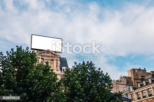 158172107 istock photo Billboard on top of building 803855616