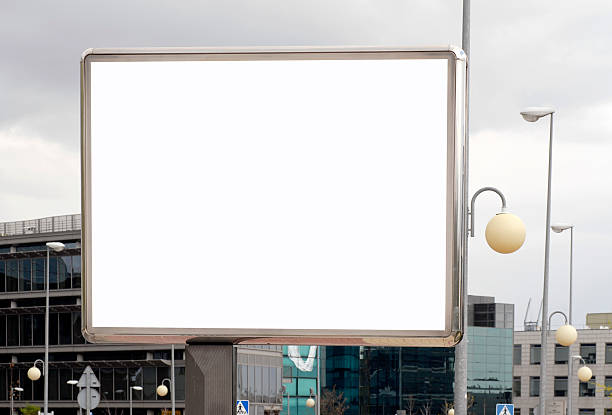 Billboard series Big and blank billboard in city business district ready to use for the designer. electronic billboard stock pictures, royalty-free photos & images