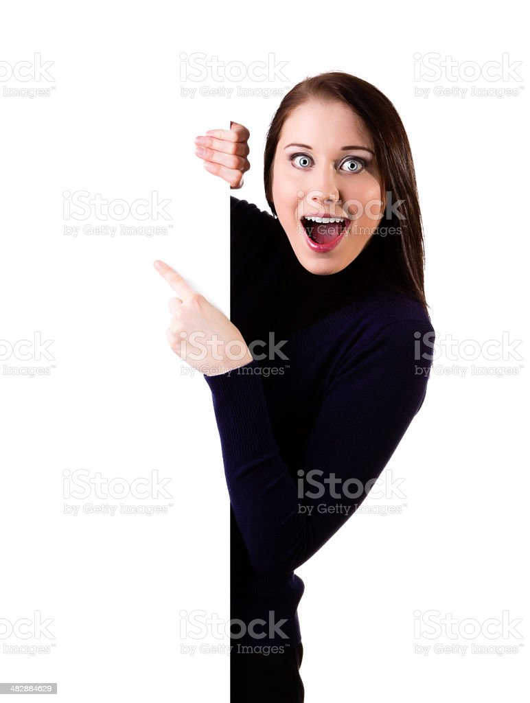 Billboard sign woman ecstatic stock photo