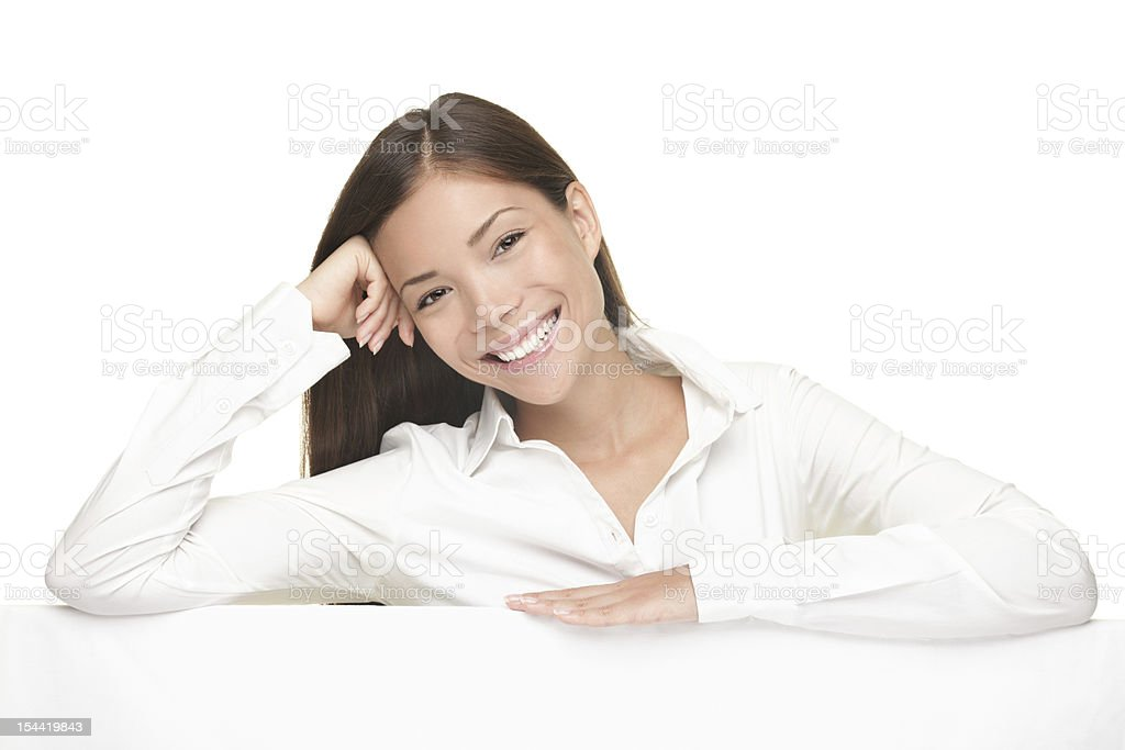 Billboard sign woman smiling friendly royalty-free stock photo