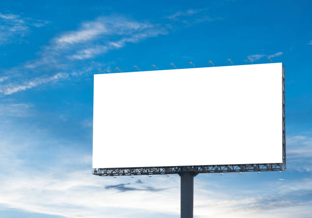 billboard sky Blank billboard with a background of sky. With clipping path on screen - can be used for trade shows, and advertising or promotional poster for you. billboard stock pictures, royalty-free photos & images