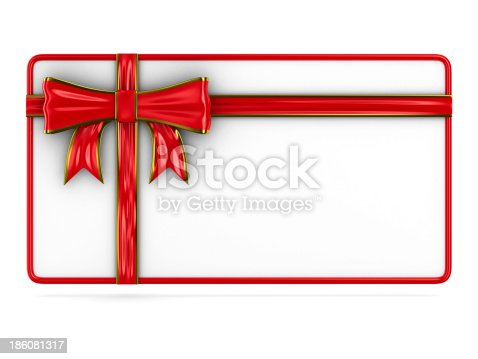 istock billboard with bow on white. Isolated 3D image 186081317