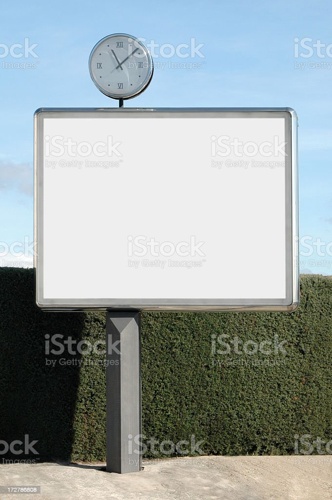 Billboard with clock royalty-free stock photo