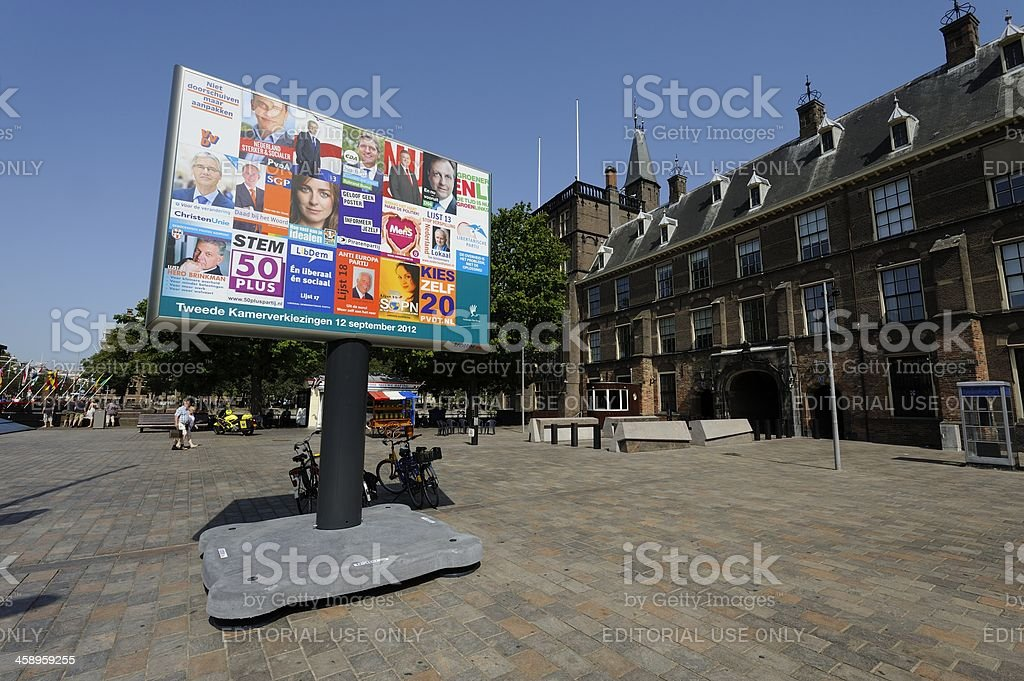Billboard with election posters in The Hague stock photo