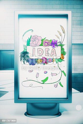 istock Billboard with idea sketch 691287968