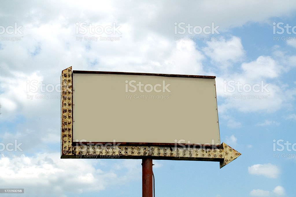 Billboard with lighted arrow royalty-free stock photo