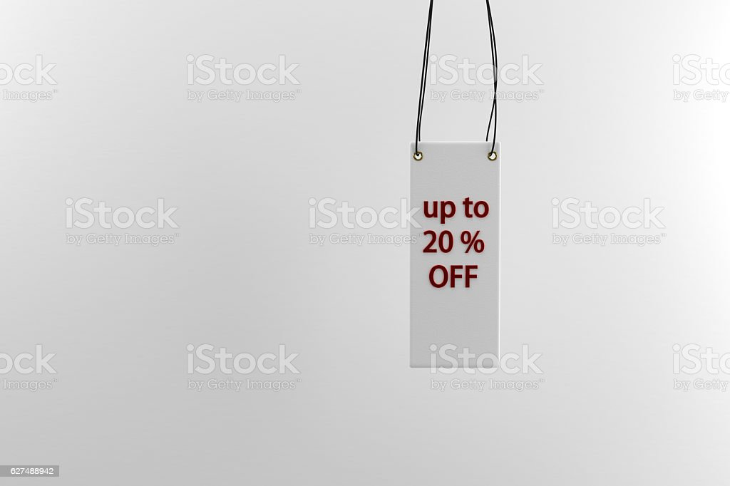 billboard with 'up to 20 percent off' words in room stock photo