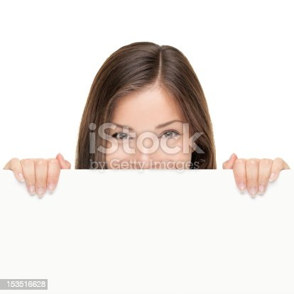 istock Billboard woman looking over sign 153516628