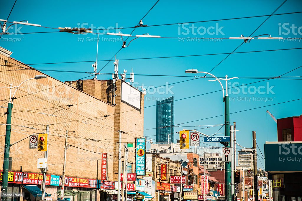 Billboards and sign in Toronto Chinatown stock photo