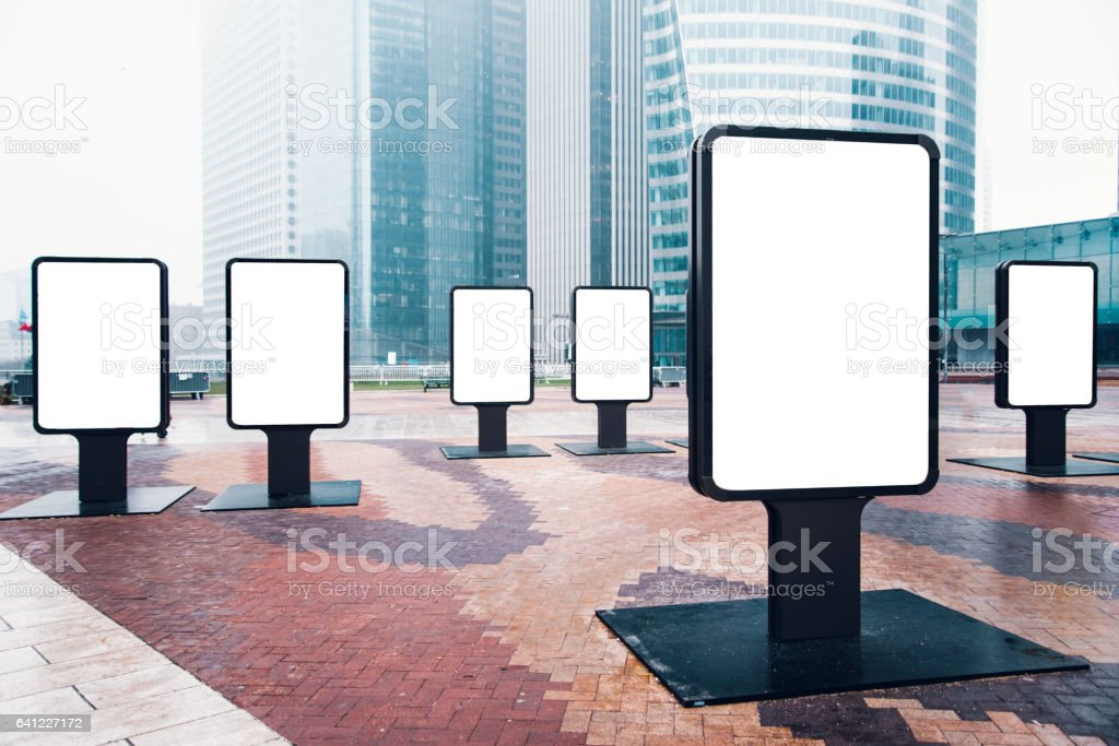 6 billboards at financial district stock photo