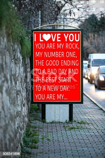 507397624 istock photo Billboards for Valentine´s day at city street 506341896
