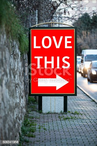 507397624 istock photo Billboards for Valentine´s day at city street 506341958