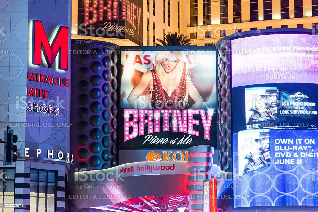 Billboards on the Las Vegas Strip at night stock photo