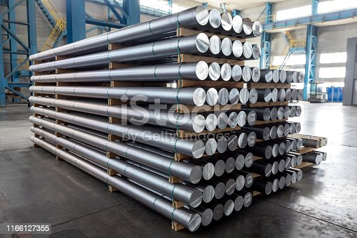 Billets of aluminium in the factory. The Hall–Heroult process produces aluminium with a purity of above 99%. Further purification can be done by the Hoopes process.