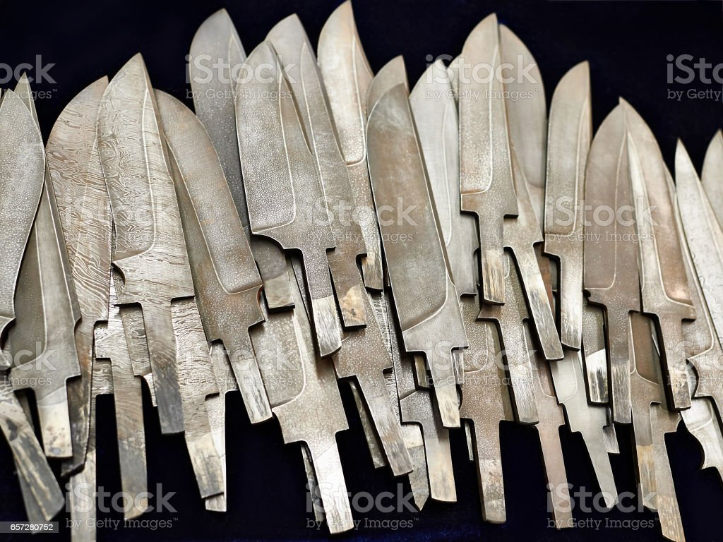 Billets of forged steel for hunting knives stock photo