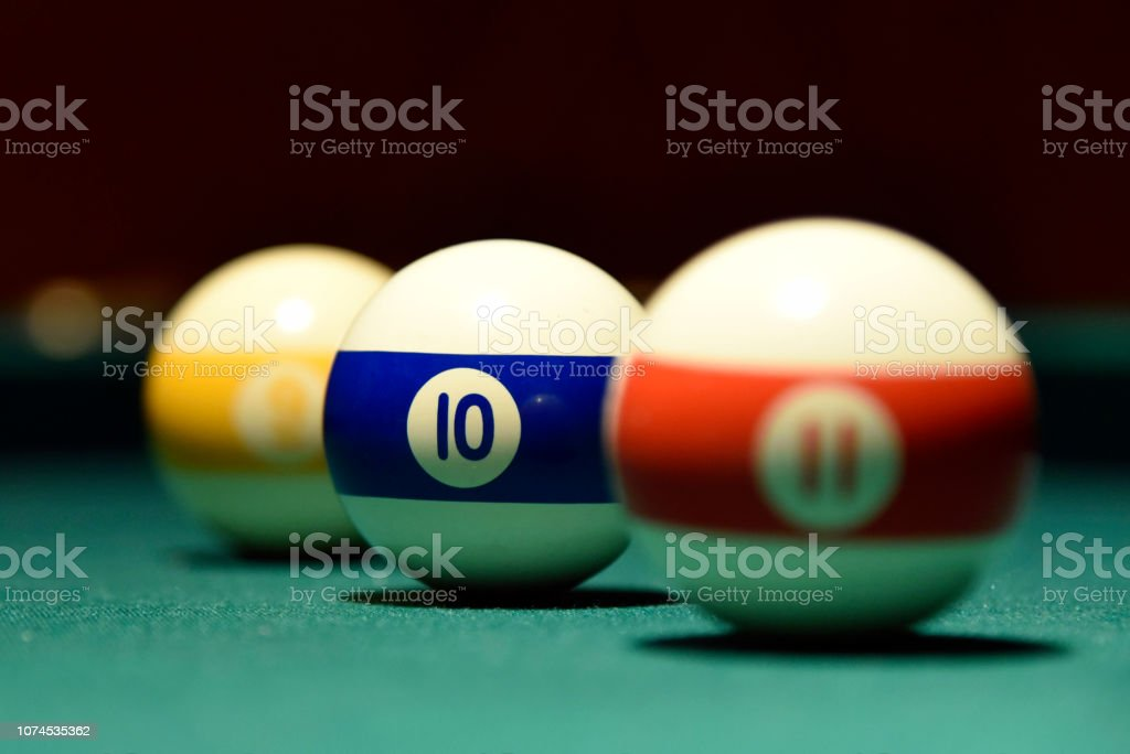 Billiard balls and cue on the pool table pool, ball, table