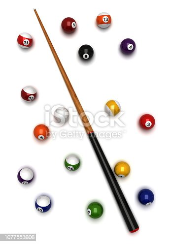 Billiard balls and cue from top view